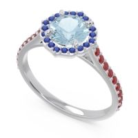Aquamarine Halo Pave Pulla Ring with Blue Sapphire and Ruby in Palladium