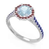 Aquamarine Halo Pave Pulla Ring with Garnet and Blue Sapphire in 14k White Gold