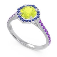 Peridot Halo Pave Pulla Ring with Blue Sapphire and Amethyst in 14k White Gold