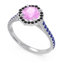 Pink Tourmaline Halo Pave Pulla Ring with Black Onyx and Blue Sapphire in 14k White Gold