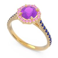 Amethyst Halo Pave Pulla Ring with Pink Tourmaline and Blue Sapphire in 18k Yellow Gold