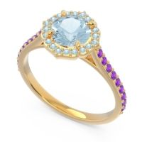 Aquamarine Halo Pave Pulla Ring with Amethyst in 18k Yellow Gold