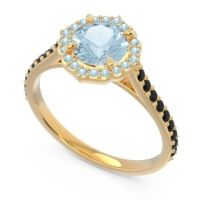 Aquamarine Halo Pave Pulla Ring with Black Onyx in 14k Yellow Gold