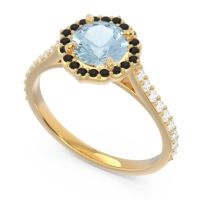 Aquamarine Halo Pave Pulla Ring with Black Onyx and Diamond in 18k Yellow Gold