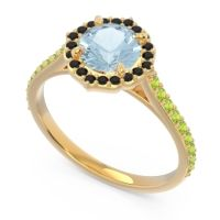 Aquamarine Halo Pave Pulla Ring with Black Onyx and Peridot in 14k Yellow Gold