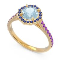 Aquamarine Halo Pave Pulla Ring with Blue Sapphire and Amethyst in 18k Yellow Gold