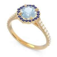 Aquamarine Halo Pave Pulla Ring with Blue Sapphire and Diamond in 18k Yellow Gold