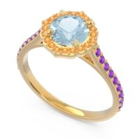 Aquamarine Halo Pave Pulla Ring with Citrine and Amethyst in 14k Yellow Gold