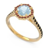 Aquamarine Halo Pave Pulla Ring with Garnet and Black Onyx in 14k Yellow Gold