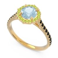 Aquamarine Halo Pave Pulla Ring with Peridot and Black Onyx in 18k Yellow Gold