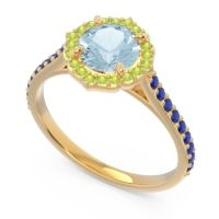 Aquamarine Halo Pave Pulla Ring with Peridot and Blue Sapphire in 18k Yellow Gold