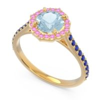 Aquamarine Halo Pave Pulla Ring with Pink Tourmaline and Blue Sapphire in 18k Yellow Gold