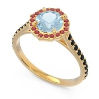 Aquamarine Halo Pave Pulla Ring with Ruby and Black Onyx in 14k Yellow Gold