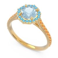 Aquamarine Halo Pave Pulla Ring with Swiss Blue Topaz and Citrine in 14k Yellow Gold