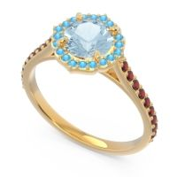 Aquamarine Halo Pave Pulla Ring with Swiss Blue Topaz and Garnet in 14k Yellow Gold
