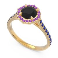 Black Onyx Halo Pave Pulla Ring with Amethyst and Blue Sapphire in 18k Yellow Gold