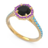 Black Onyx Halo Pave Pulla Ring with Amethyst and Swiss Blue Topaz in 14k Yellow Gold