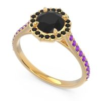 Black Onyx Halo Pave Pulla Ring with Amethyst in 18k Yellow Gold