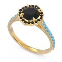 Black Onyx Halo Pave Pulla Ring with Swiss Blue Topaz in 18k Yellow Gold