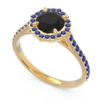 Black Onyx Halo Pave Pulla Ring with Blue Sapphire in 18k Yellow Gold