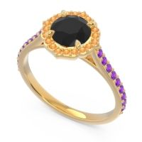 Black Onyx Halo Pave Pulla Ring with Citrine and Amethyst in 18k Yellow Gold