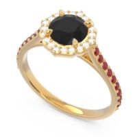 Black Onyx Halo Pave Pulla Ring with Diamond and Ruby in 14k Yellow Gold
