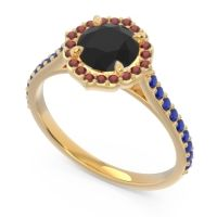 Black Onyx Halo Pave Pulla Ring with Garnet and Blue Sapphire in 18k Yellow Gold