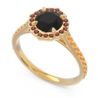 Black Onyx Halo Pave Pulla Ring with Garnet and Citrine in 18k Yellow Gold