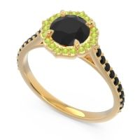 Black Onyx Halo Pave Pulla Ring with Peridot in 18k Yellow Gold