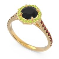 Black Onyx Halo Pave Pulla Ring with Peridot and Garnet in 14k Yellow Gold