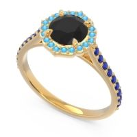 Black Onyx Halo Pave Pulla Ring with Swiss Blue Topaz and Blue Sapphire in 14k Yellow Gold