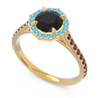 Black Onyx Halo Pave Pulla Ring with Swiss Blue Topaz and Garnet in 14k Yellow Gold
