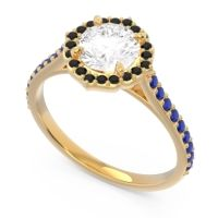 Diamond Halo Pave Pulla Ring with Black Onyx and Blue Sapphire in 18k Yellow Gold