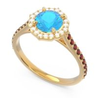 Swiss Blue Topaz Halo Pave Pulla Ring with Diamond and Garnet in 18k Yellow Gold