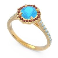 Swiss Blue Topaz Halo Pave Pulla Ring with Garnet and Aquamarine in 18k Yellow Gold