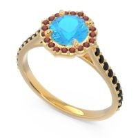 Swiss Blue Topaz Halo Pave Pulla Ring with Garnet and Black Onyx in 14k Yellow Gold