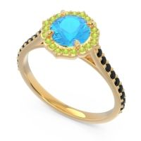 Swiss Blue Topaz Halo Pave Pulla Ring with Peridot and Black Onyx in 18k Yellow Gold