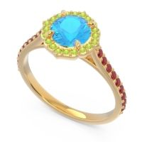 Swiss Blue Topaz Halo Pave Pulla Ring with Peridot and Ruby in 18k Yellow Gold