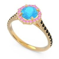 Swiss Blue Topaz Halo Pave Pulla Ring with Pink Tourmaline and Black Onyx in 18k Yellow Gold