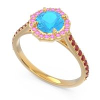Swiss Blue Topaz Halo Pave Pulla Ring with Pink Tourmaline and Ruby in 18k Yellow Gold