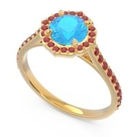Swiss Blue Topaz Halo Pave Pulla Ring with Ruby in 14k Yellow Gold