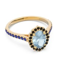 Aquamarine Halo Pave Pulla Ring with Black Onyx and Blue Sapphire in 18k Yellow Gold
