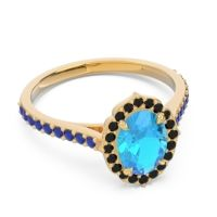 Swiss Blue Topaz Halo Pave Pulla Ring with Black Onyx and Blue Sapphire in 18k Yellow Gold