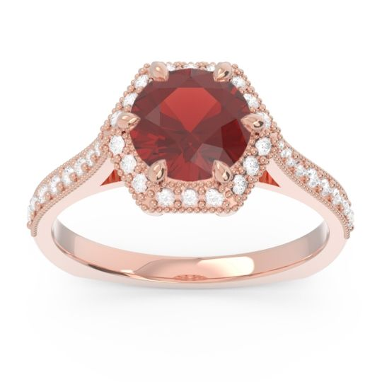 Garnet Halo Milgrain Pave Karkata Ring with Diamond in 14K Rose Gold