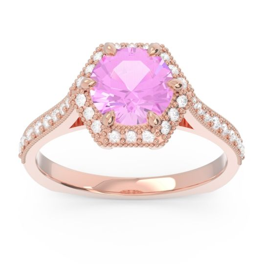 Pink Tourmaline Halo Milgrain Pave Karkata Ring with Diamond in 14K Rose Gold
