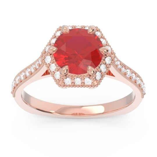 Halo Milgrain Pave Karkata Ruby Ring with Diamond in 14K Rose Gold