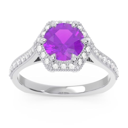 Halo Milgrain Pave Karkata Amethyst Ring with Diamond in 14k White Gold