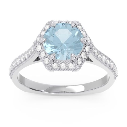 Aquamarine Halo Milgrain Pave Karkata Ring with Diamond in 18k White Gold