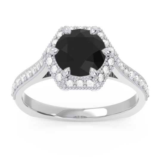 Black Onyx Halo Milgrain Pave Karkata Ring with Diamond in 14k White Gold