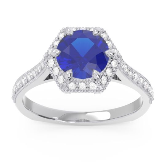 Halo Milgrain Pave Karkata Blue Sapphire Ring with Diamond in 14k White Gold